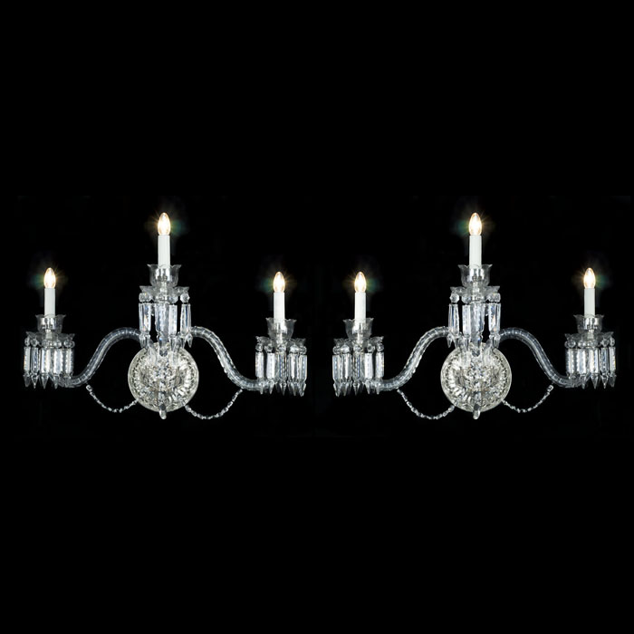 Pair of Regency Style Cut Glass Wall Lights