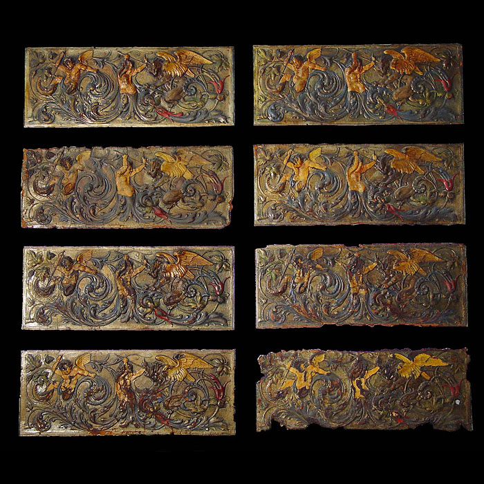 A set of eight embossed Antique Leather Panels
