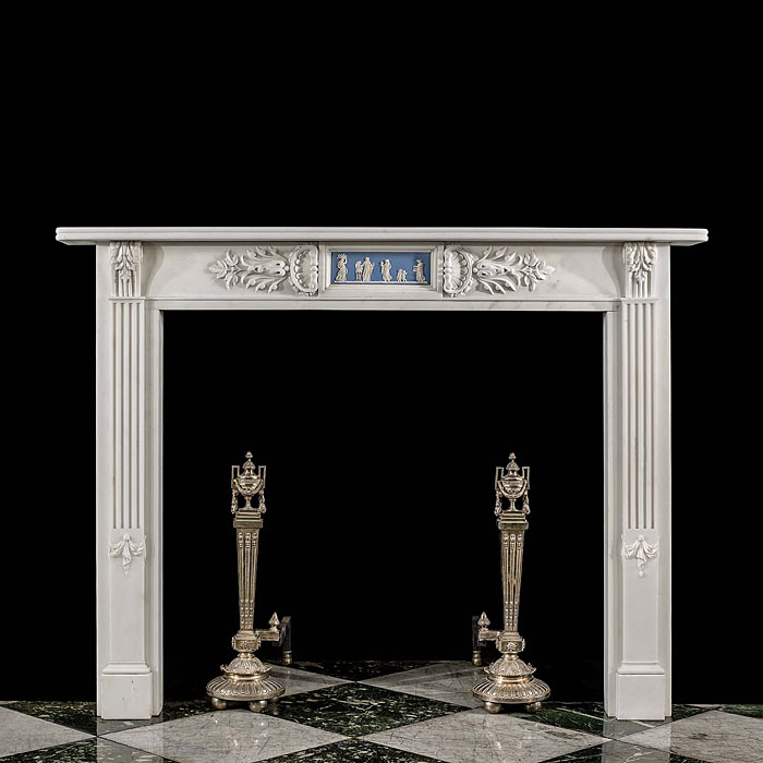 A late 19th century Georgian style antique marble chimneypiece