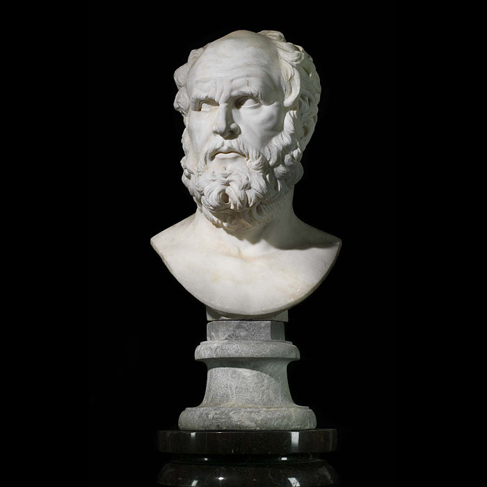 13391: A very fine life size marble bust, mounted on a composition coadestone base, of a Greek/Roman philosopher, most probably Plato or perhaps Socrates. Originally from a property in County Durham.   Link