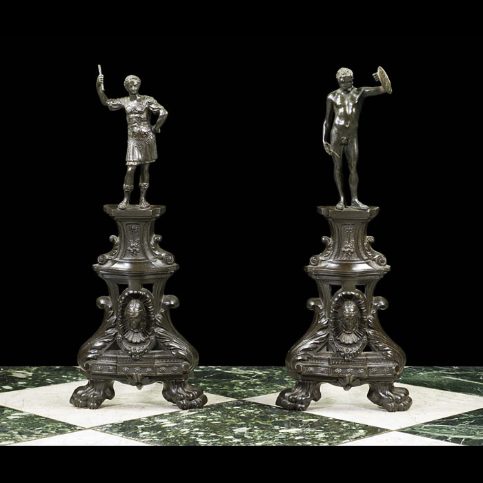 A pair of French Baroque Antique bronze figural andirons
