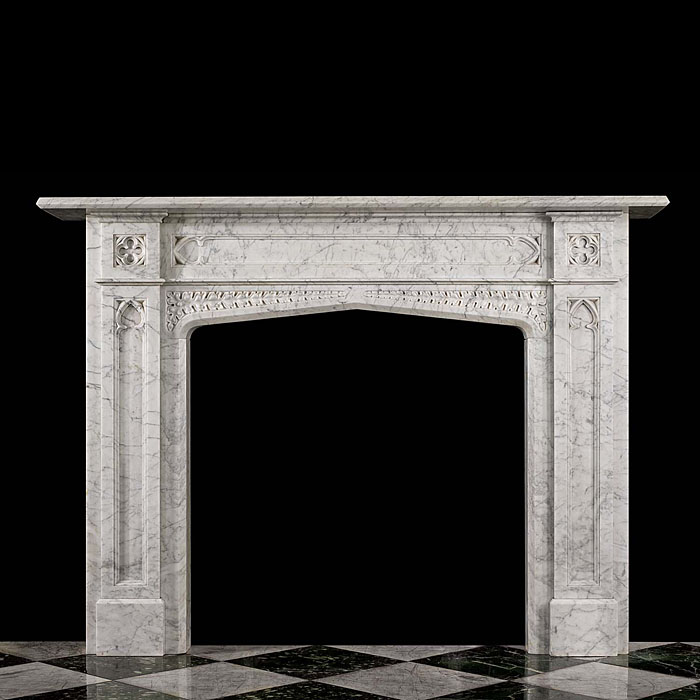 An Antique Old English Marble Gothic style Fireplace Mantel