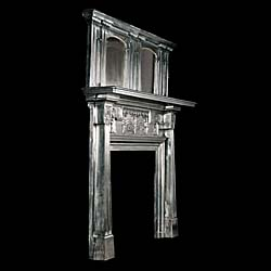A rare antique Art Nouveau cast iron chimneypiece