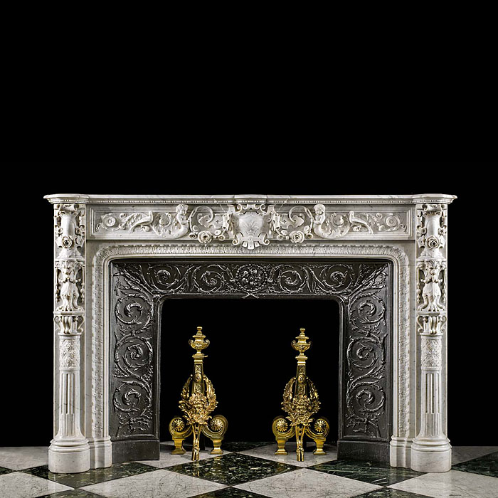 An antique Italian Renaissance style chimneypiece.