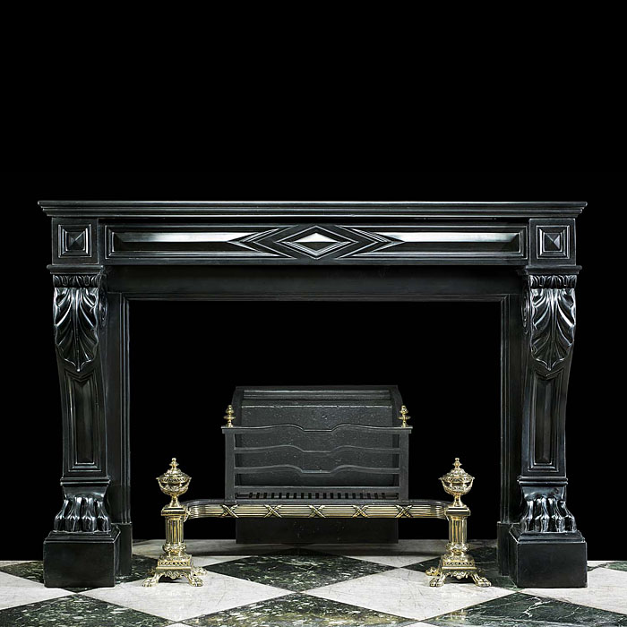 A Louis XVI style Belgian Black marble antique fireplace surround