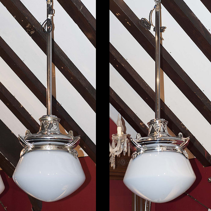 A pair of large Art Deco pendant ceiling lights