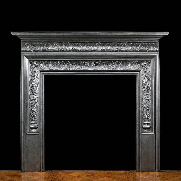 An attractive cast iron 1867 fireplace surround