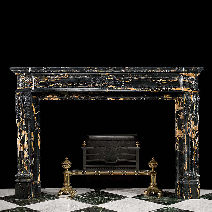 A Louis XVI style Portoro Marble antique Fireplace Surround