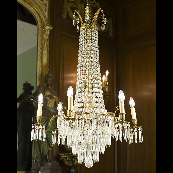 An Antique cut glass chandelier