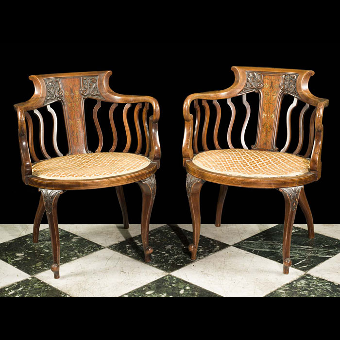 A pair of antique Edwardian inlaid marquetry mahogany boudoir chairs