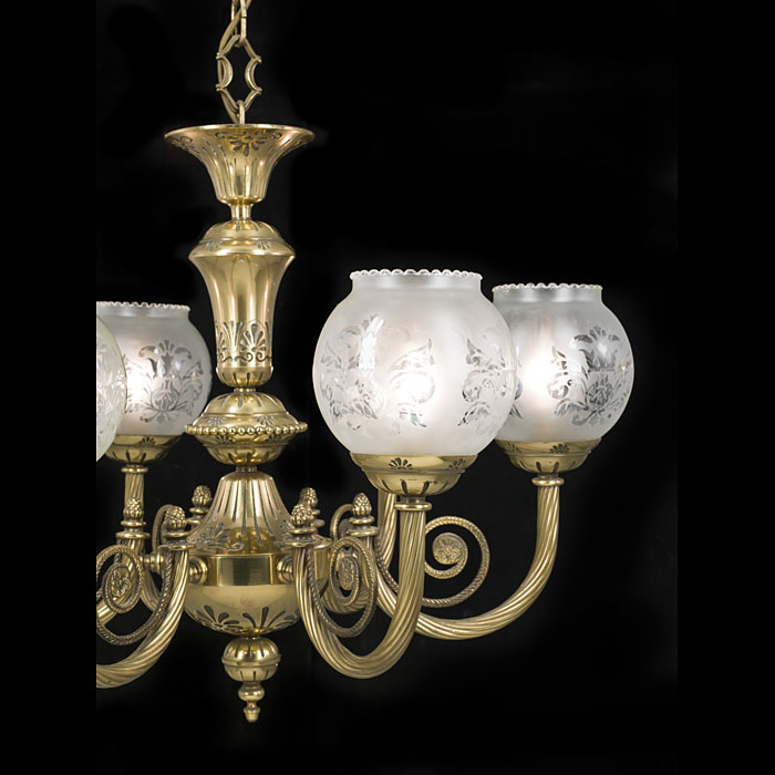 Six branch Victorian style 20th century chandelier
