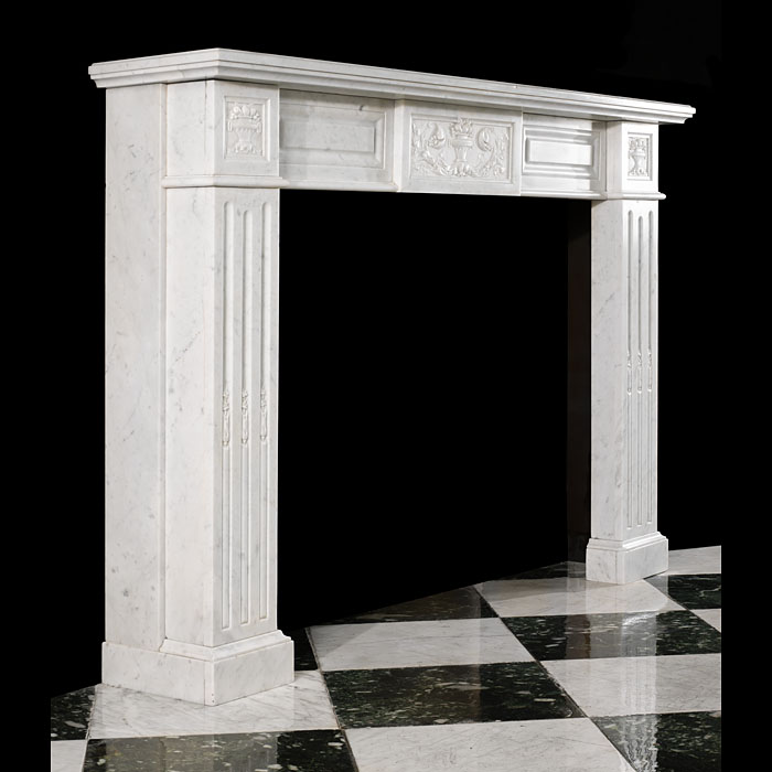 An elegantly simple Louis XVI style marble antique Fireplace Surround.