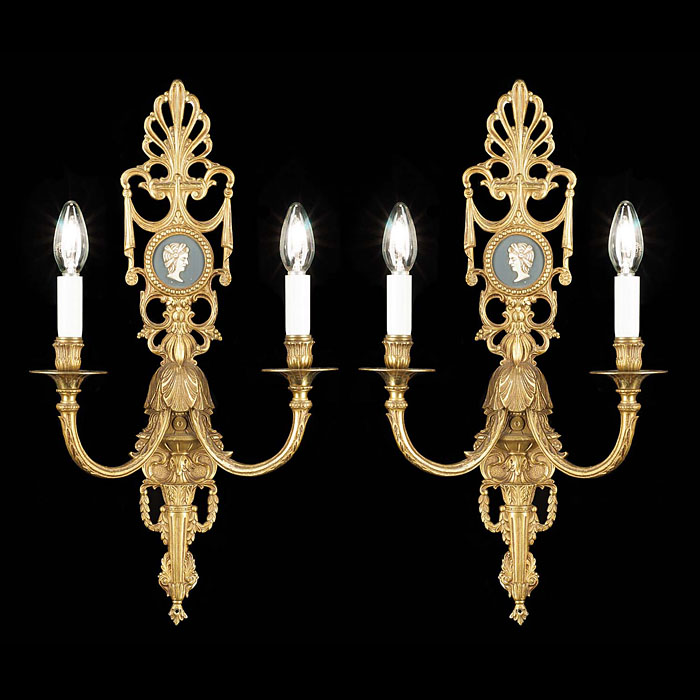 A Pair of Twin Branch Bronze Wall Lights