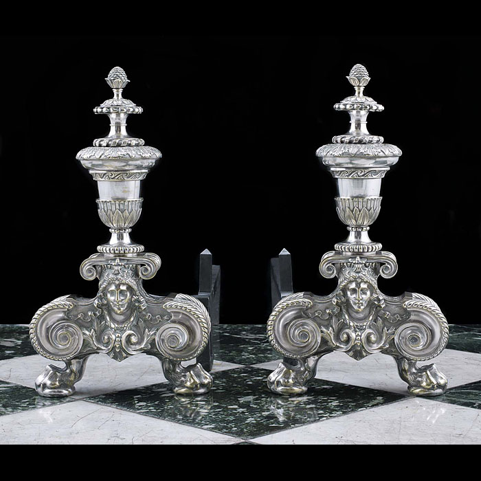 A pair of silvered Antique Baroque style andirons
