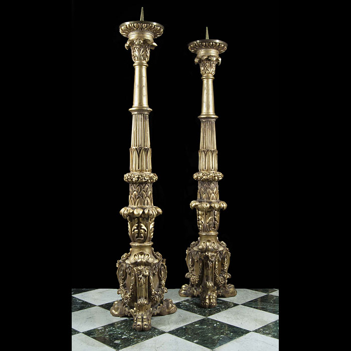 A Tall Pair of Baroque Style Candlesticks