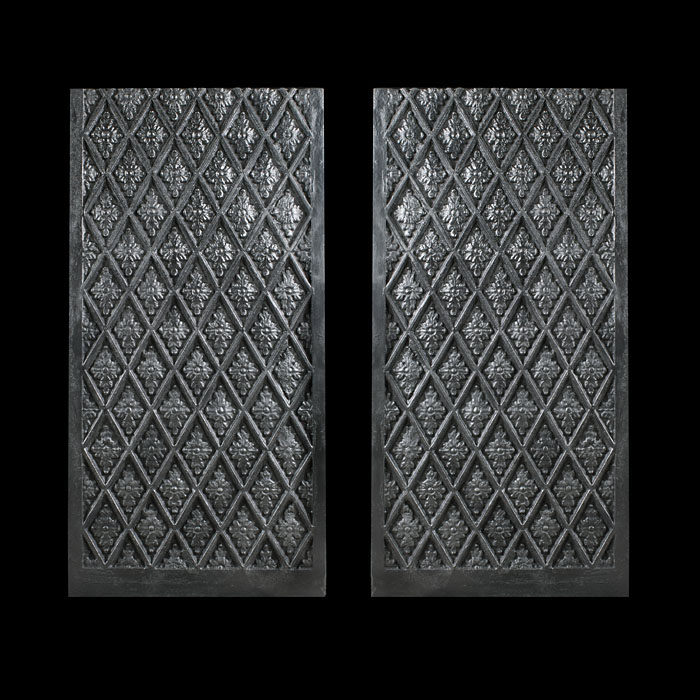 Victorian pair of cross hatched internal fireplace panels