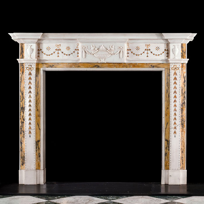A Georgian Style Inlaid Marble Chimneypiece