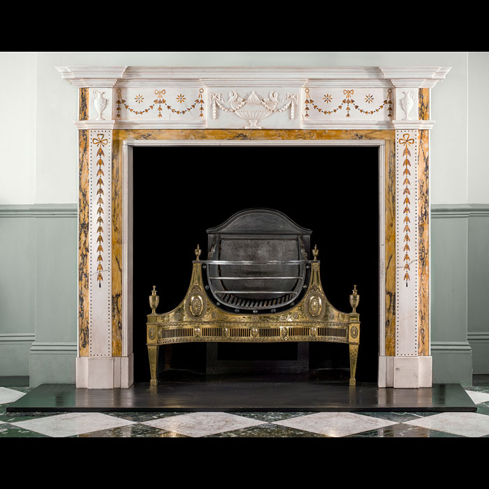 A mid 20th century Georgian style inlaid marble chimneypiece
