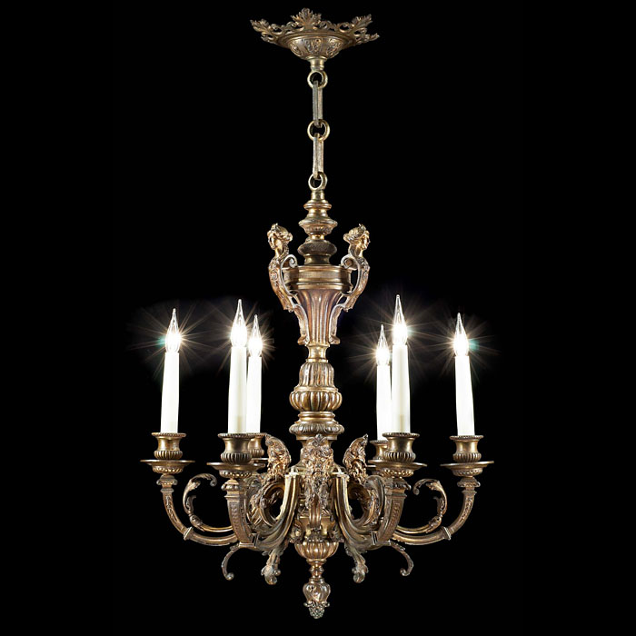 A large gilt bronze Baroque style Antique chandelier