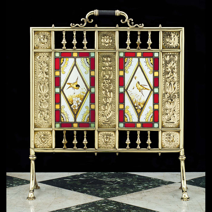 A very fine Aesthetic Movement brass and stained glass antique Firescreen
