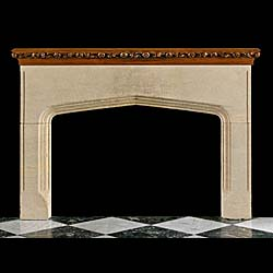 13549: A large and impressive slow arched Tudor Gothic style stone fireplace, with the original ornately carved Oak top mantel shelf. English late 19th early 20th century.     Link to: Antique Renaissance, G