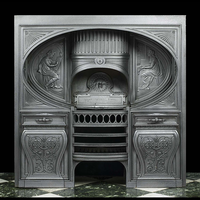 13550: A rare cast iron 'Scuttle Grate' by the architect and designer William Scott Morton (1840-1903).   The 'Scuttle Grate' was a development of the hob grate which utilized the otherwise unused space bene