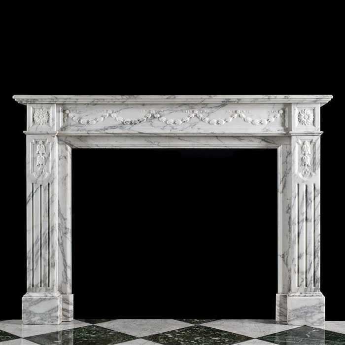 An Antique Louis XVI style arabascato marble fireplace surround