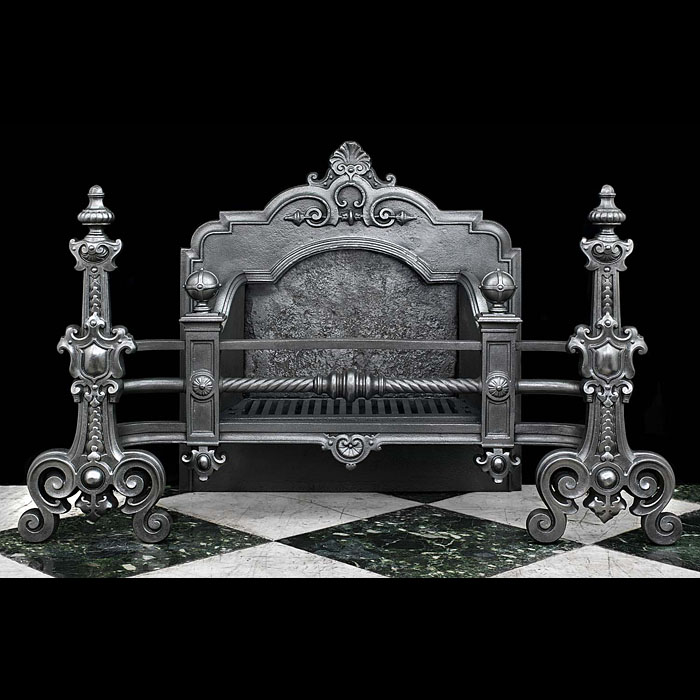 A large cast iron Antique Baroque style fire basket