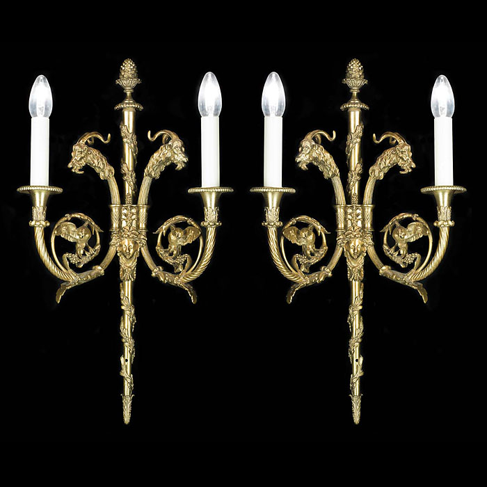 Ornate Pair of gilt brass antique wall lights