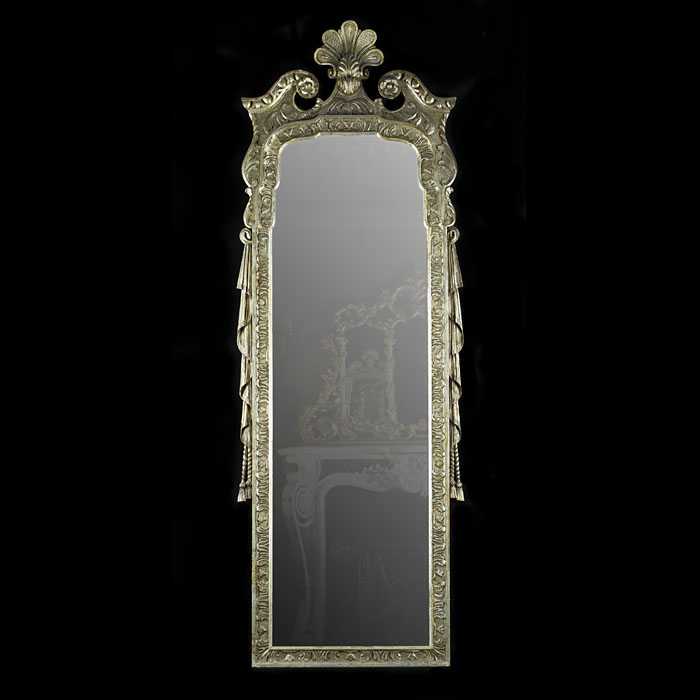 A Baroque style silvered pier mirror