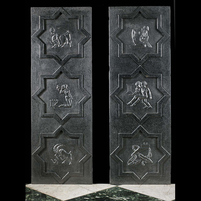 Arts & Crafts Zodiac Fireplace Panels.