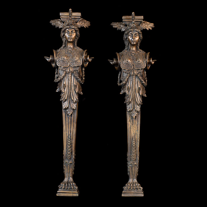 A pair of bronze pilasters of Athene