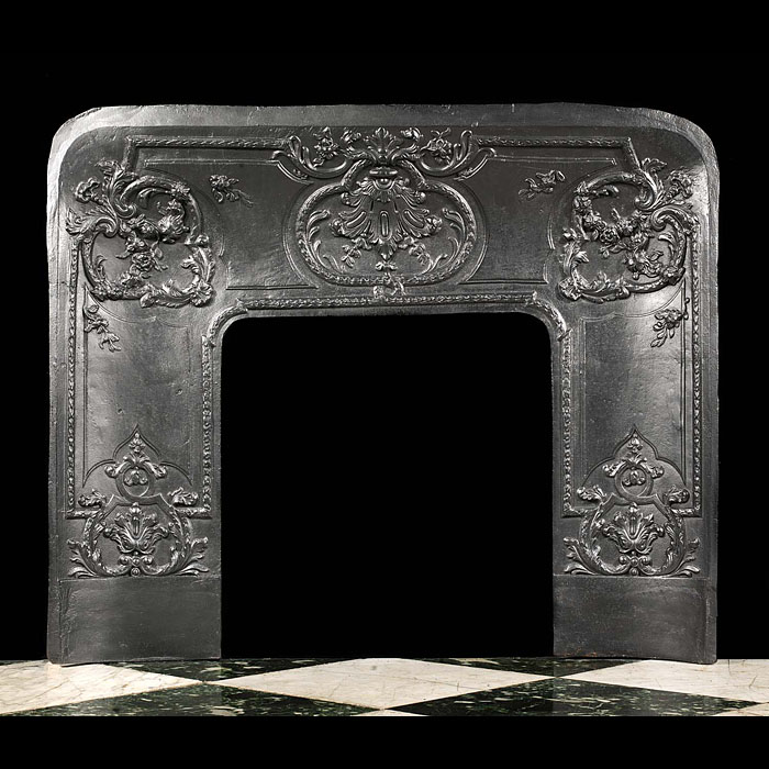 A French antique cast iron fireplace insert