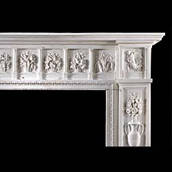 A rare Aesthetic period statuary marble antique fireplace