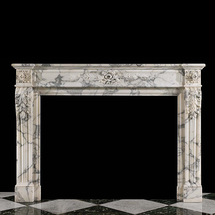 A fireplace surround in the French Regence style