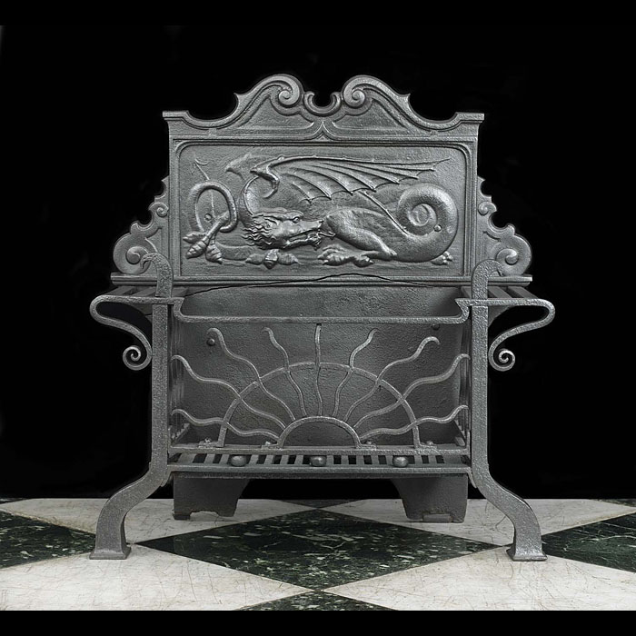 An Arts And Crafts Antique Dragon Fire Grate