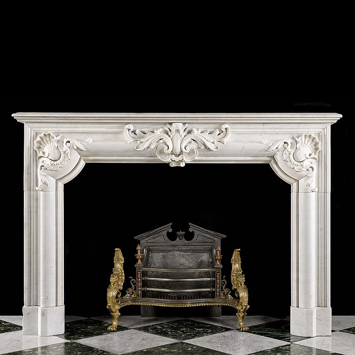 French Carrara Marble Fireplace Surround
