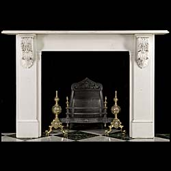 13708: A mid Victorian statuary marble chimneypiece, with well carved acanthus leaf corbels, plain frieze and jambs.  English, circa 1850.    Link to: Antique Victorian, William IV, Arts and Crafts, Aestheti