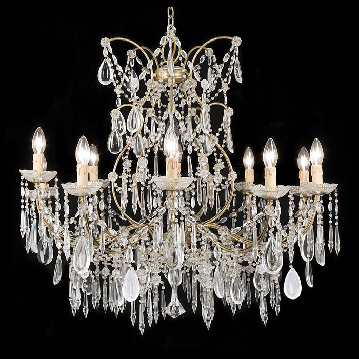 A Neoclassical style 20th century large ten branch chandelier