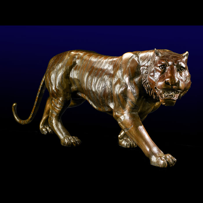 A Life Size Bronze Model of a Prowling Tiger
