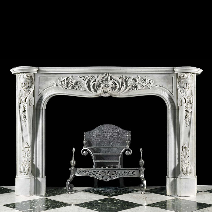 Antique Rococo Louis XV White carved Marble Chimneypiece