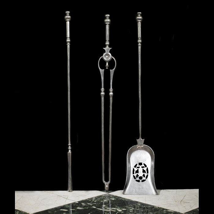 A Set of Three Steel Georgian Fire Irons