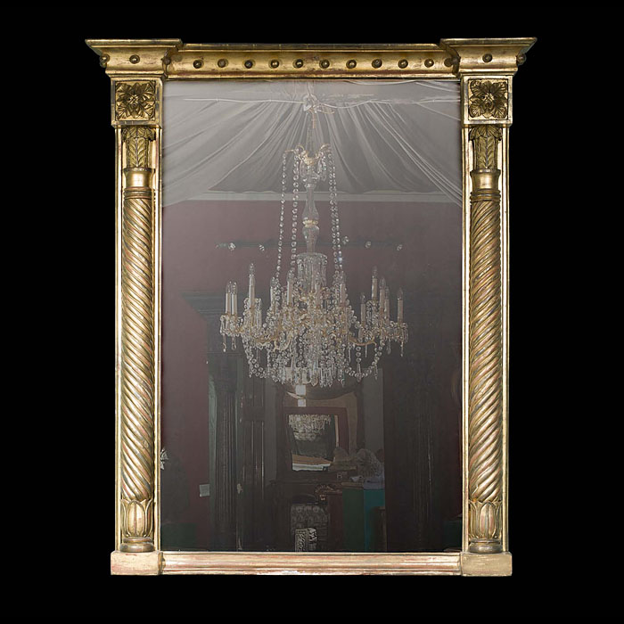 A Large Regency Giltwood Overmantel Mirror