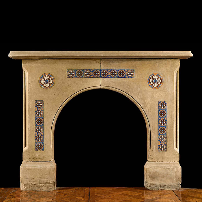 A Victorian Arched Antique Stone Fireplace