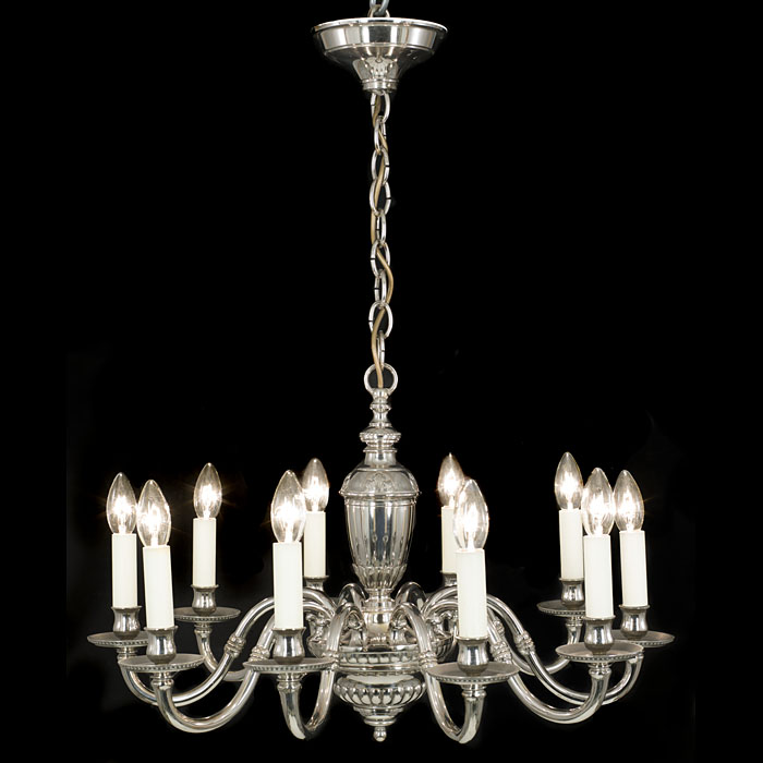 A Regency Style Nickel Plated Chandelier