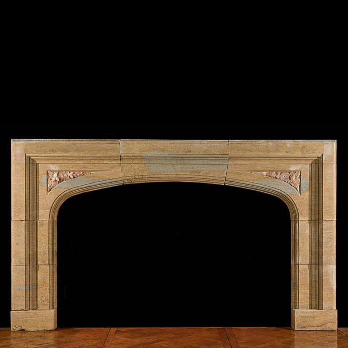 13810: A wide Victorian fossil limestone Tudor style antique fireplace surround the spandrels inset with carved alabaster acorn and oak leaf detail. English circa 1900.    Link to: Antique Renaissance, Gothi