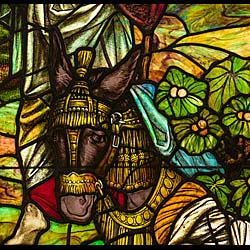 A very fine illustrative antique stained glass window