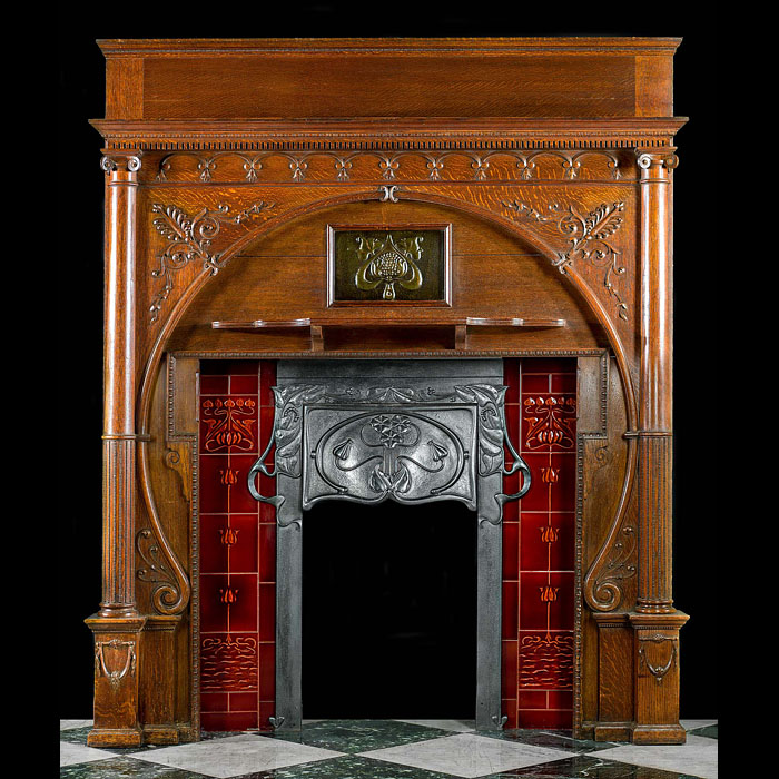 A most attractive tall oak antique Art Nouveau Chimneypiece