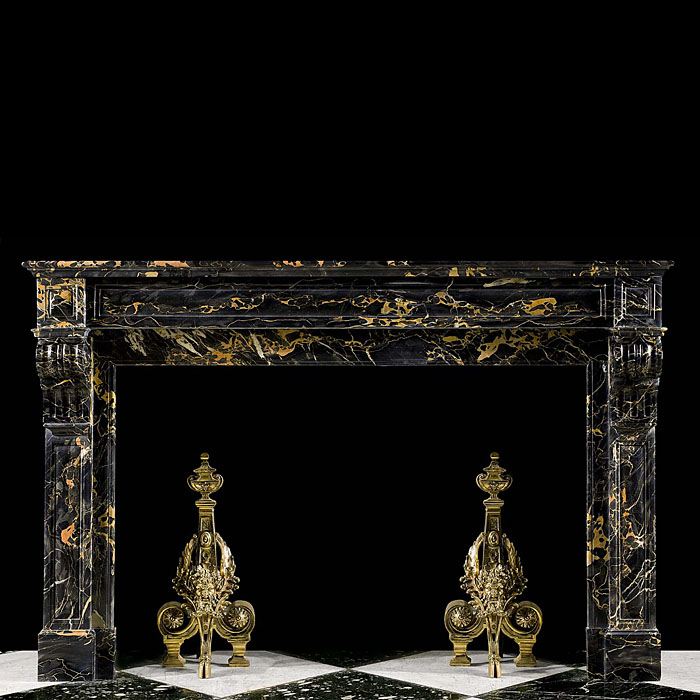 A French Louis XVI style antique Portoro marble fireplace surround
