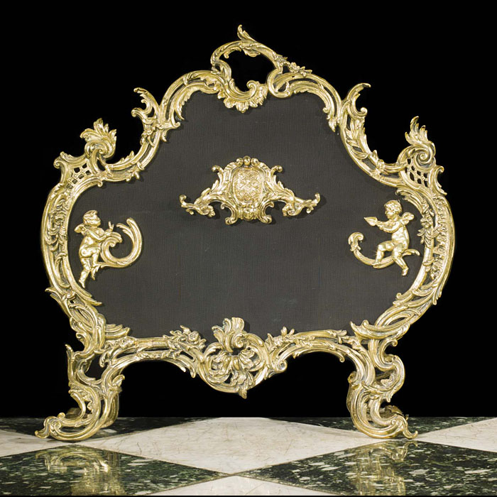 An attractive 20th century Rococo style brass & mesh firescreen